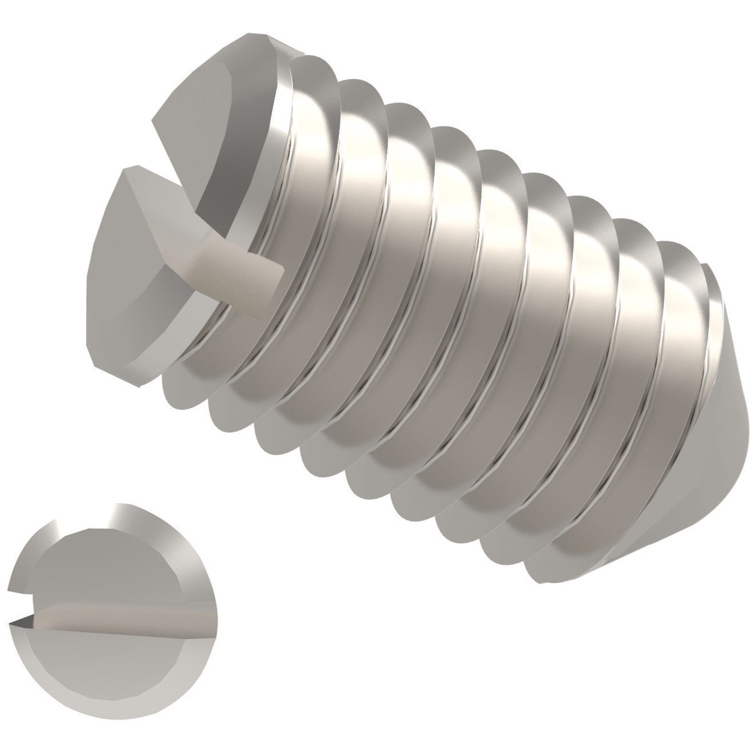 Slotted Set Screws Cone Point Stainless Steel A2. To DIN 553, cone point.