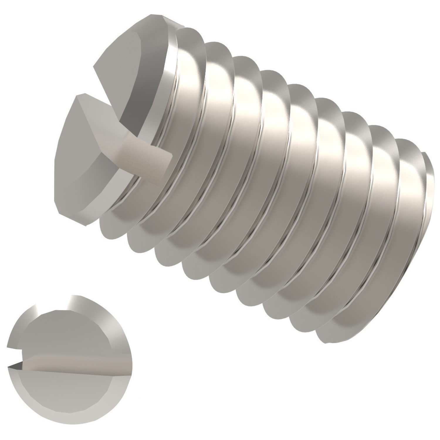 Slotted Set Screws Cup Point A2 Stainless Steel. To DIN 438, cup point.