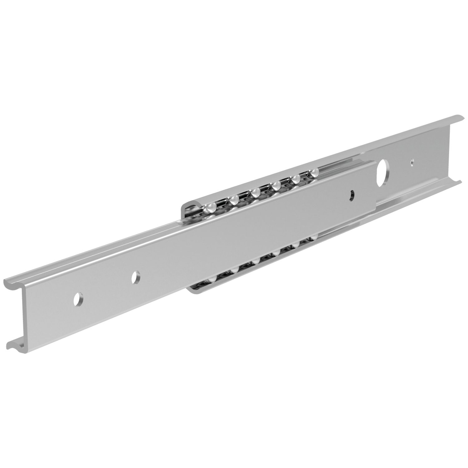 Semi-Telescopic Drawer Slides Galvanized steel drawer slides, loads up to 17.5Kg per pair. Hardened steel balls with plastic ball cage. Fix with M5 countersunk screws.