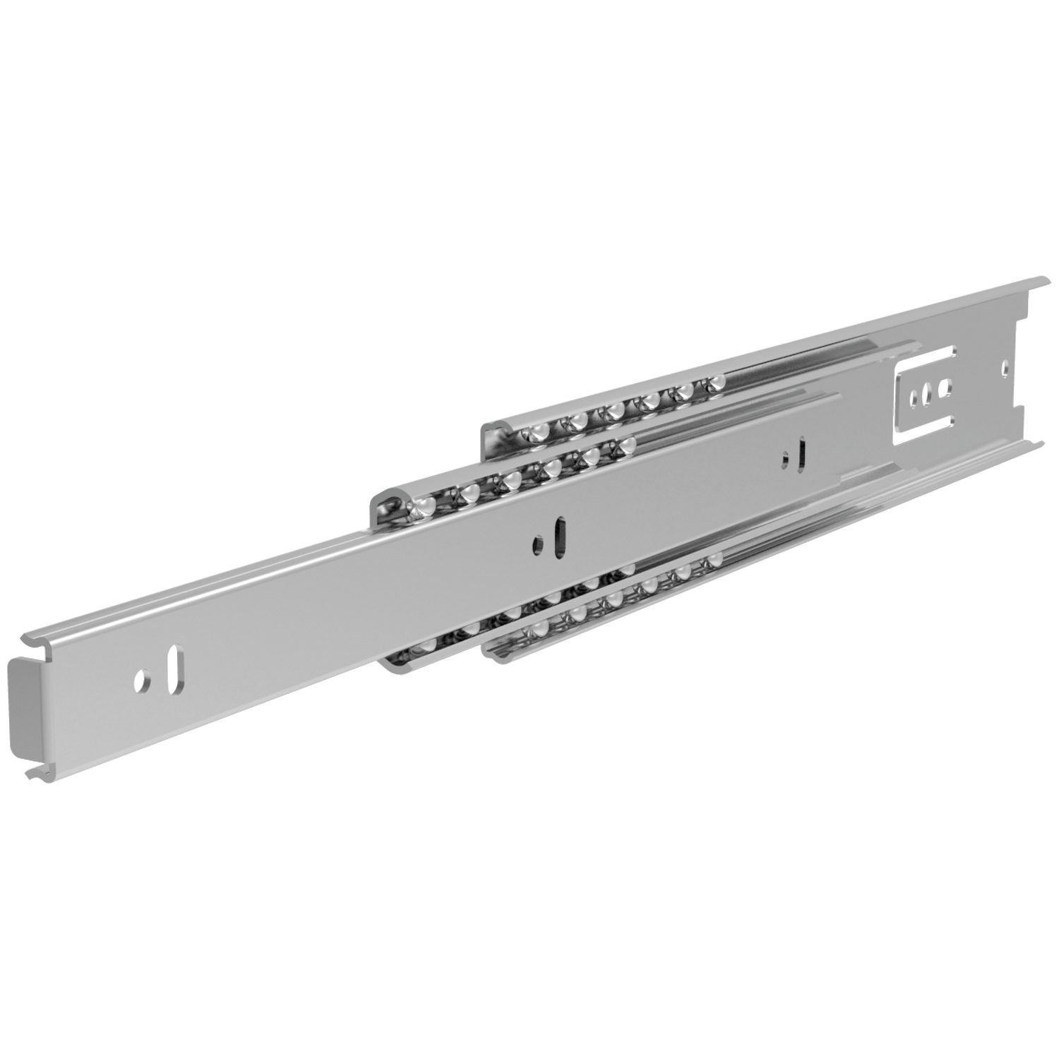 Fully Telescopic Drawer Slides Steel, zinc plated drawer slides, loads up to 20Kg per pair. Hardened steel balls with steel and plastic ball cage. Separate inner rail.