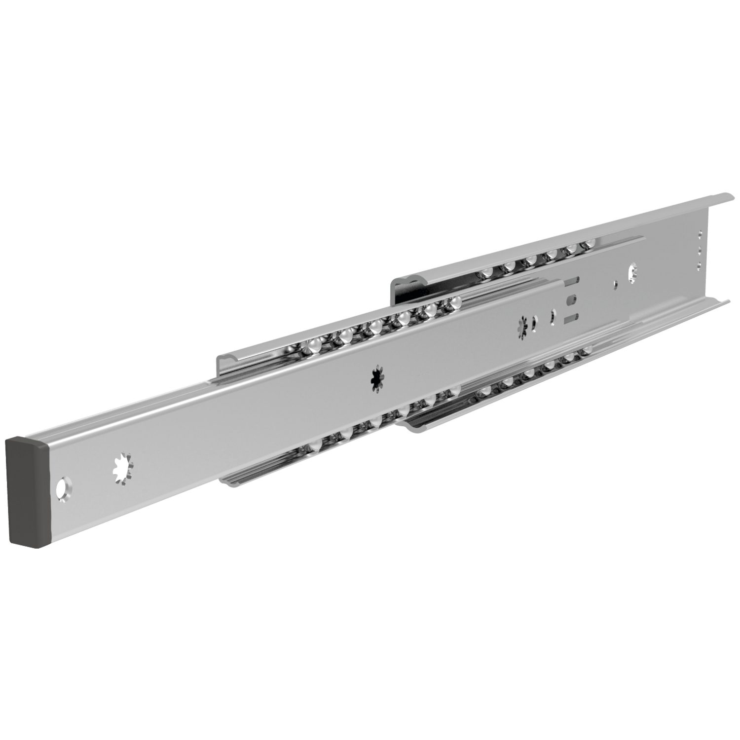 Fully Telescopic Drawer Slide Galvanized steel fully telescopic drawer slides. Friction locked in closed position. Fix rail with M4 countersunk screws. loads up to 40kg per pair.