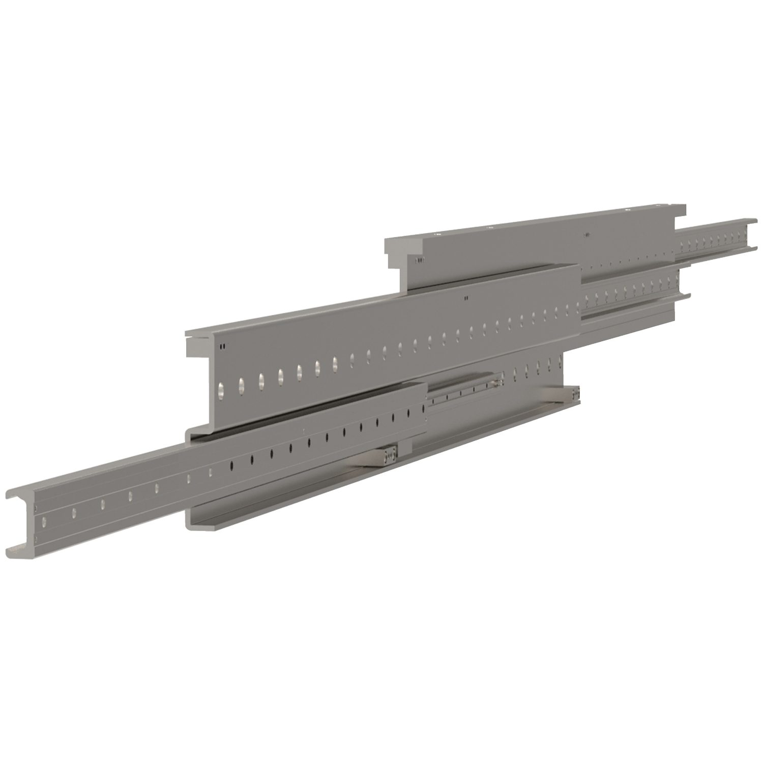 Extended Stroke Telescopic Slides These are extended stroke (150%), heavy duty telescopic rails.