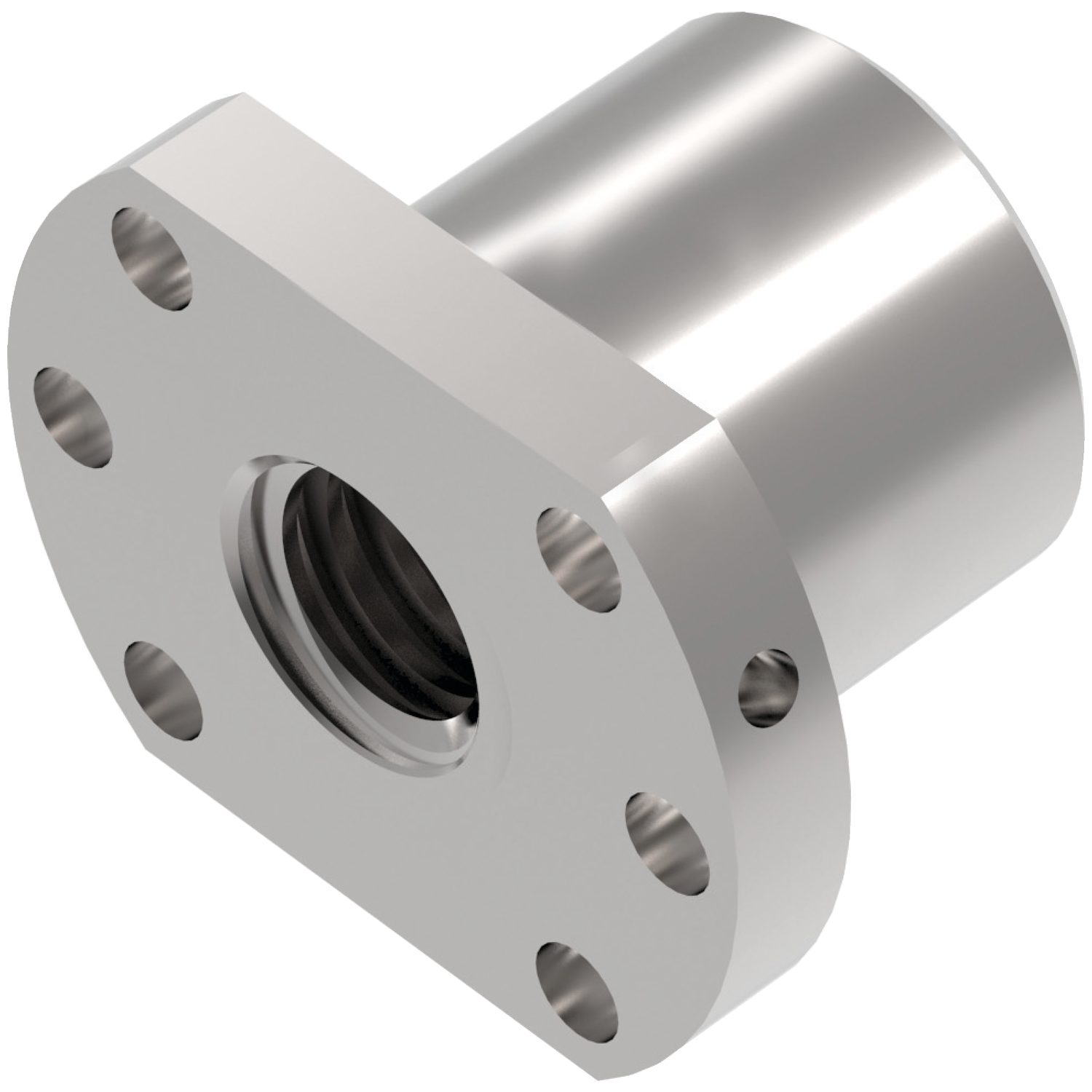 Flanged Ball Nuts Steel square nuts for lead screws. Standard nuts are right hand thread, single starts.