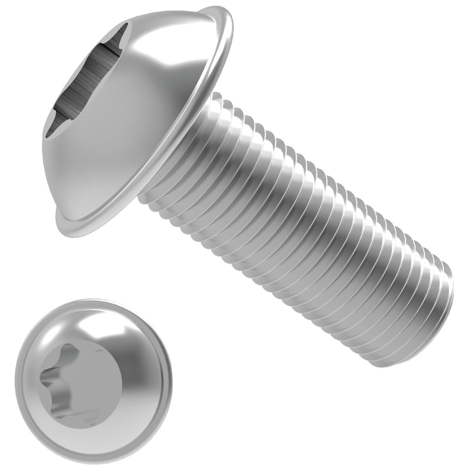 Flanged TX Button Screws Threaded within 2,5 x pitch of head.