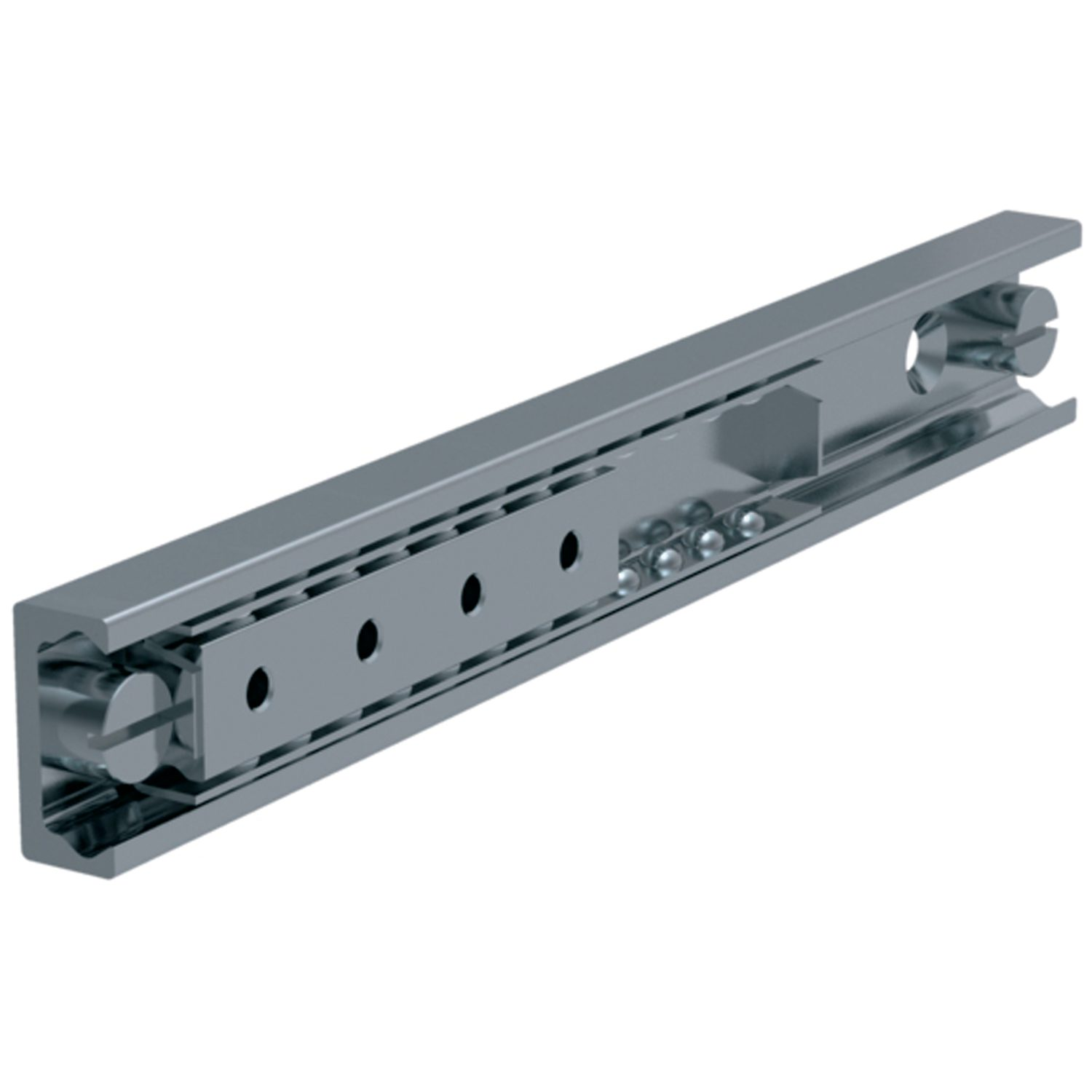 Easy Slide - Size 28 Easy slide high load rails come in sizes 28, 35, 43 or 63. They are made from zinc plated steel.