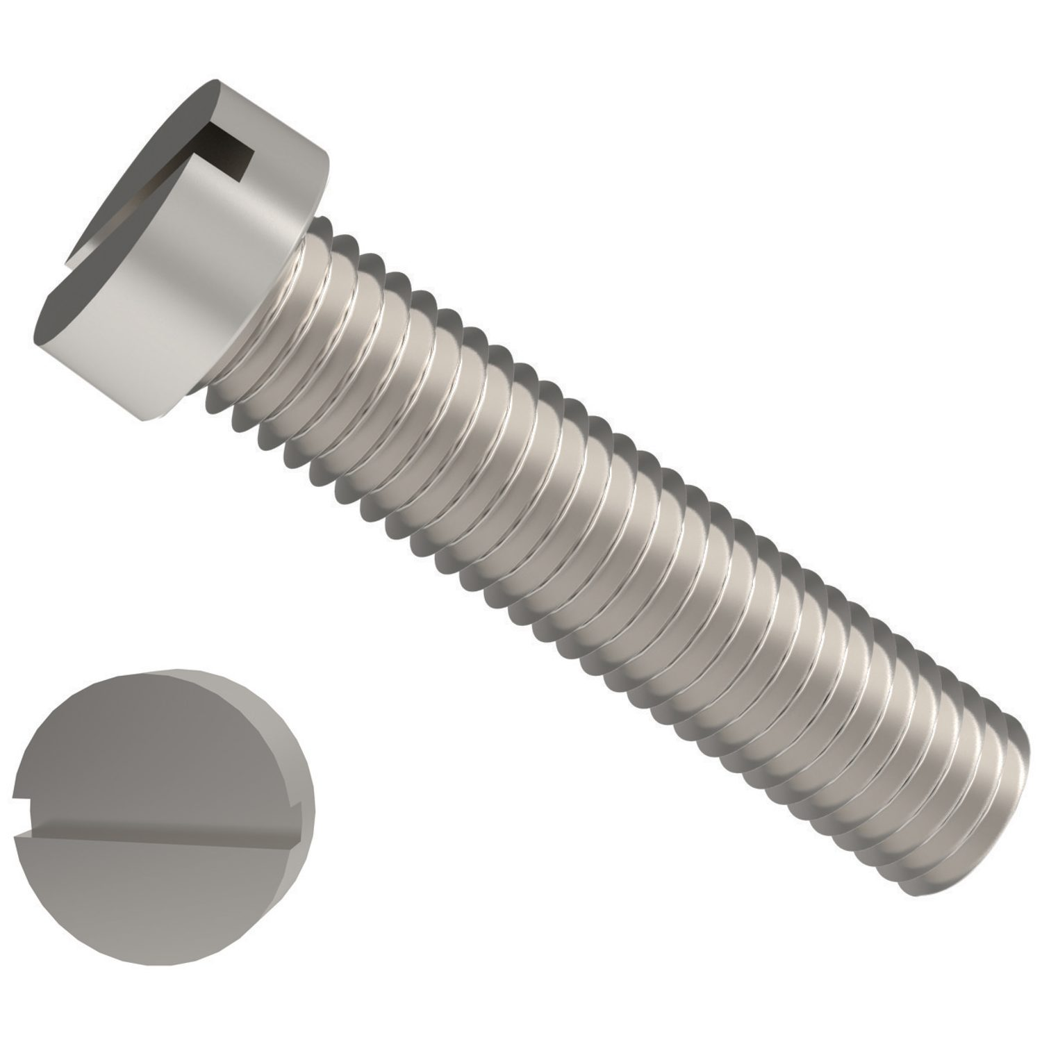 Slot Cheese Head Screws Zinc-plated steel slot cheese head screws. Sizes range from M1,6 to M10. Manufactured to DIN 84.