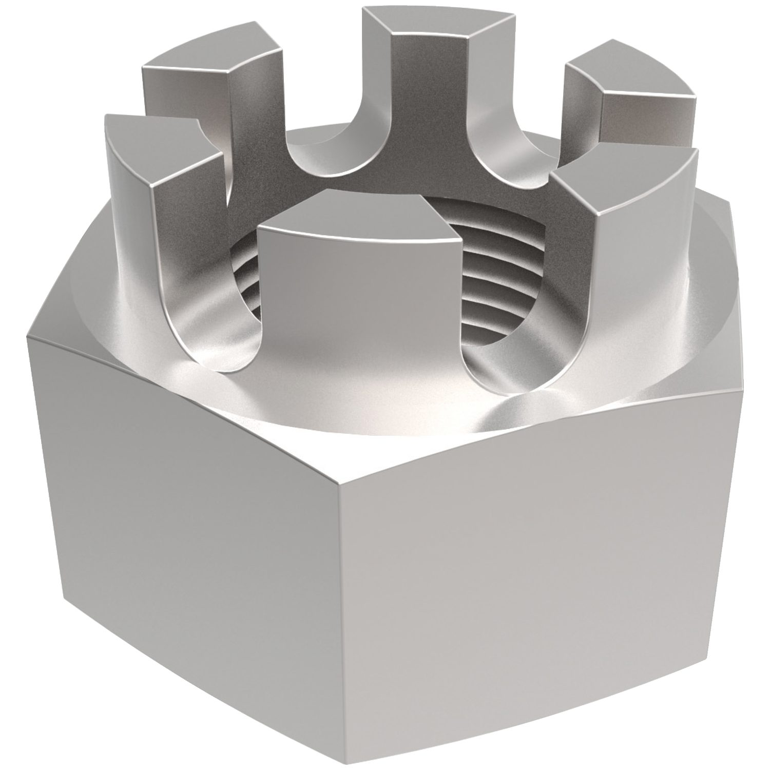 Hexagon Castle Nuts Hexagon castle nuts made from zinc-plated steel. Sizes ranging from M5 to M36. Manufactured to DIN 935.