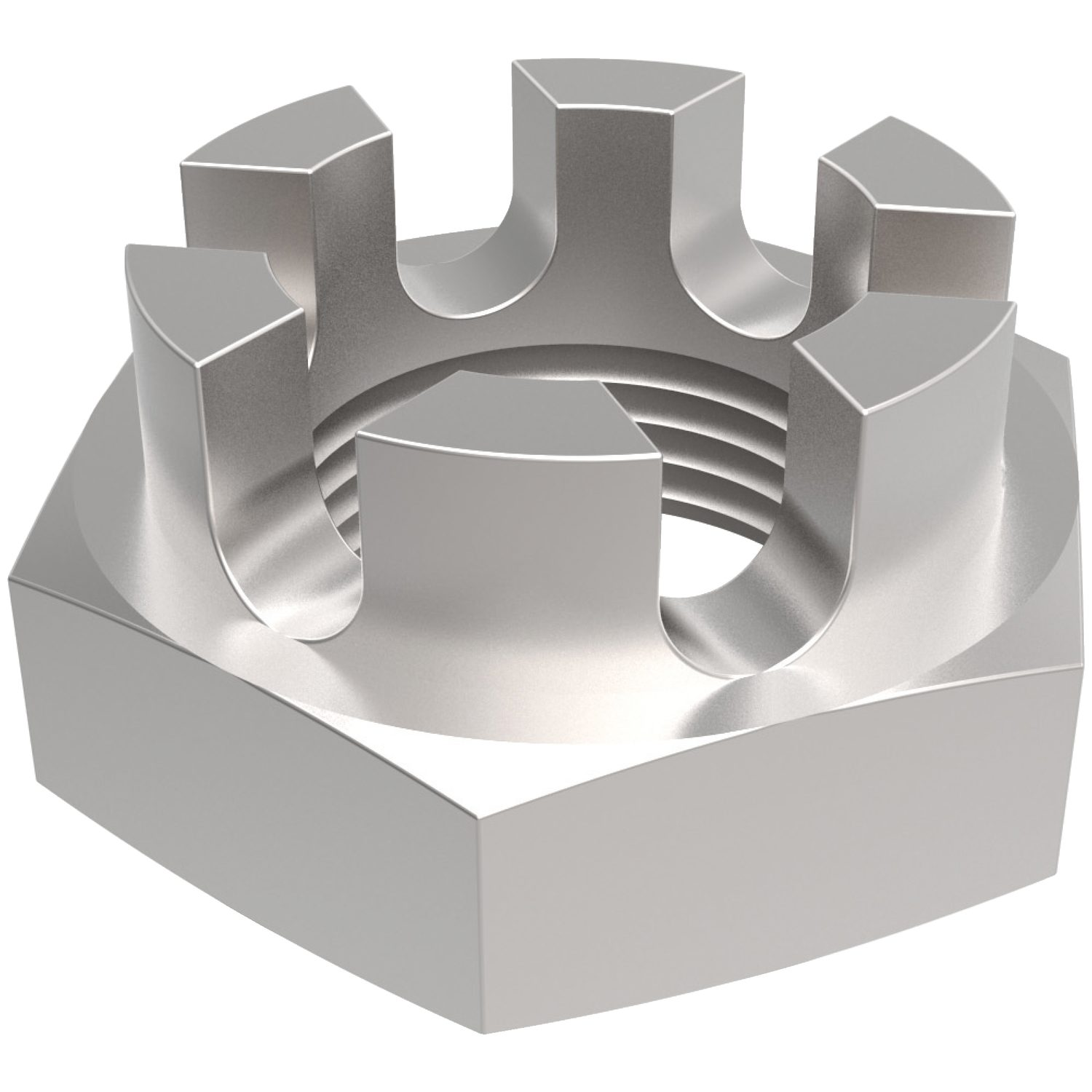 Hexagon Castle Nuts Thin Type Thin hexagon castle nuts made from A4 stainless steel. Sizes from M6 to M30. Manufactured to DIN 937.