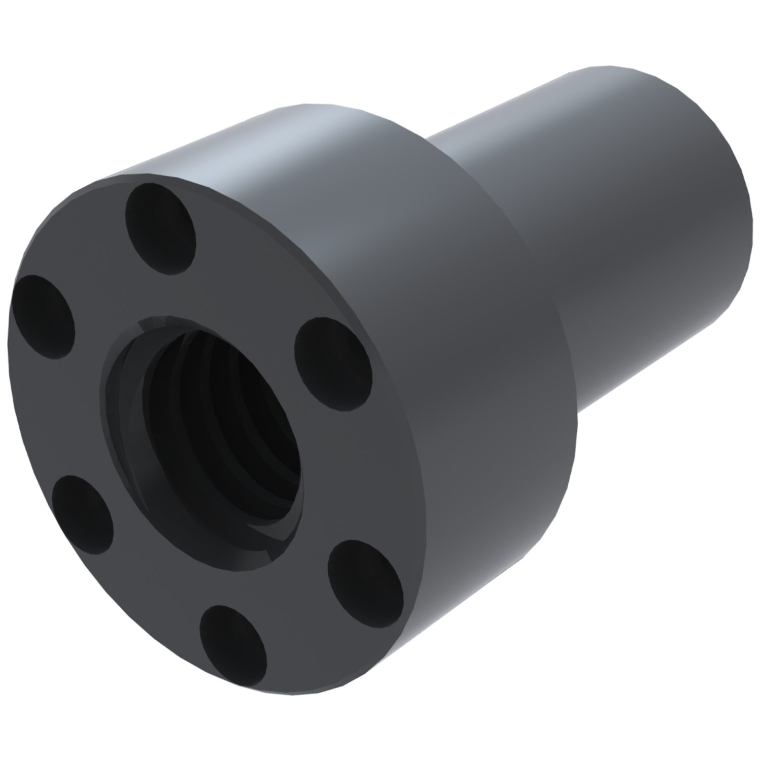 Product L1342, Flanged Self-Lubricating Plastic Nut for lead screws /