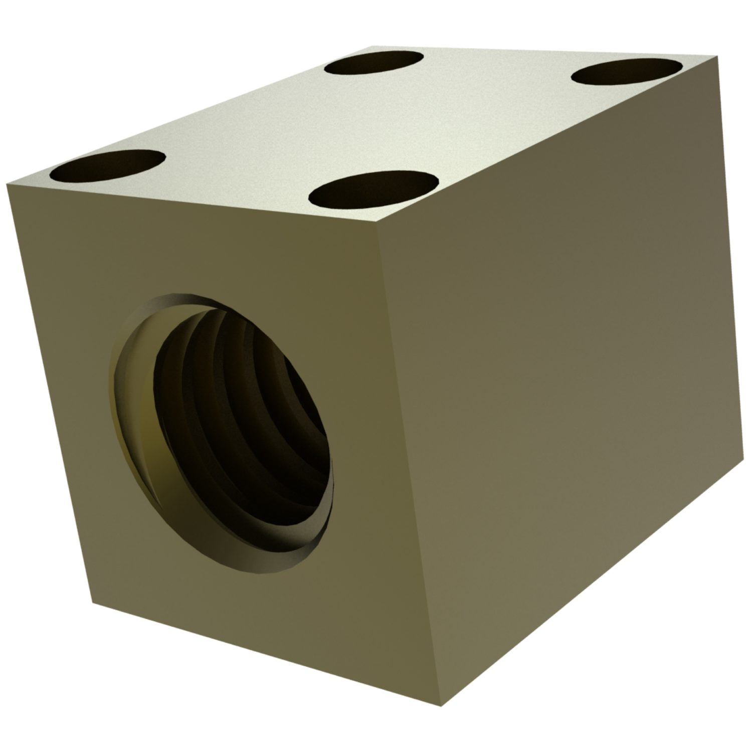 Product L1334, Square Bronze Nut with Through Holes for lead screws /