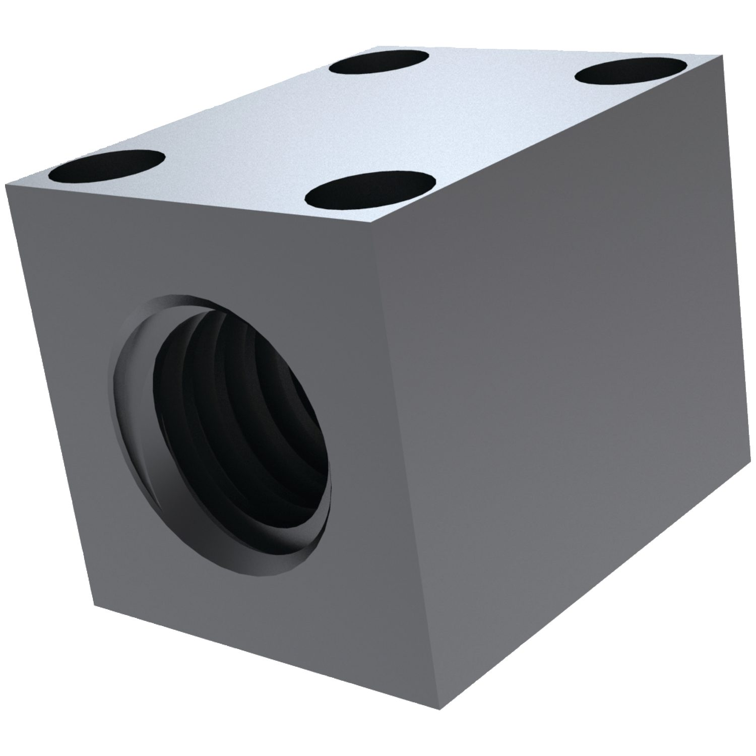 Product L1337, Square Steel Nut with Holes for lead screws /